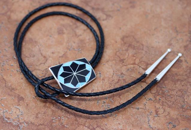 Zuni Silver Multi_Stone Bolo Tie