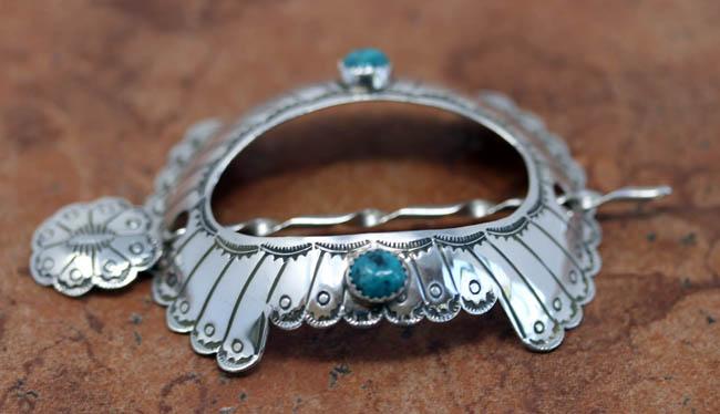 Navajo Silver Turquoise Turtle Barrette