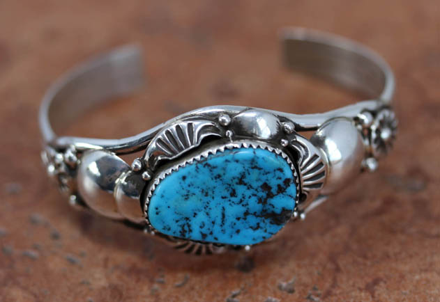 Navajo Silver Turquoise Bracelet by Nalwood