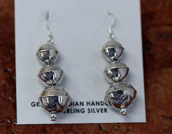 Navajo Silver Beaded Earrings
