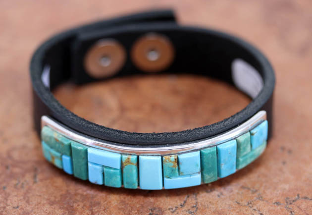 Navajo Silver Leather Turquoise Bracelet