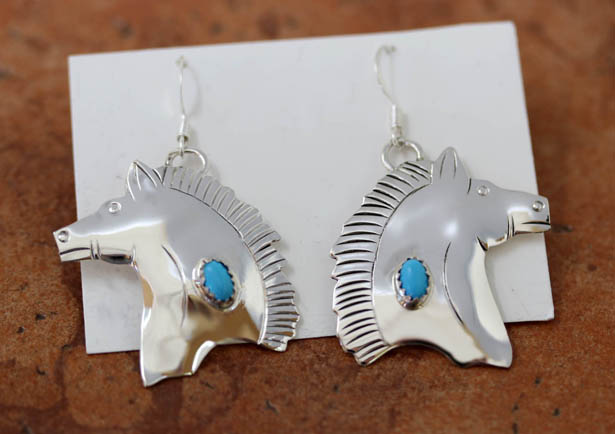 Navajo Sterling Silver Turquoise Horse Earrings