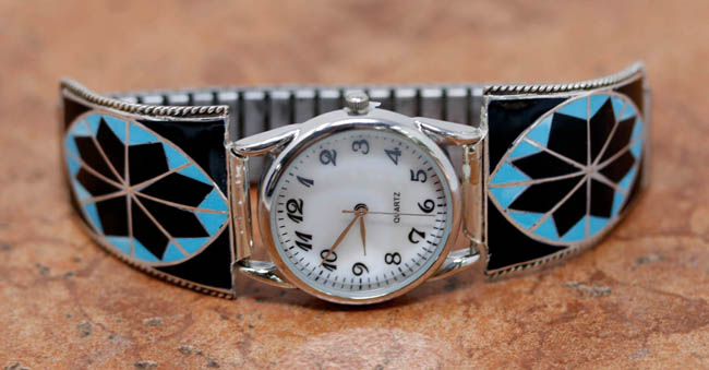 Zuni Silver Multi_Stone Men's Watch