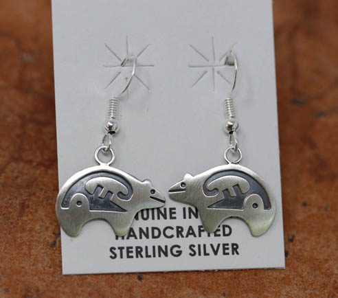 Navajo Sterling Silver Bear Earrings