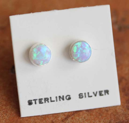 Zuni Created Opal Earrings