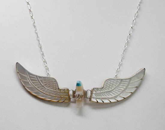 Navajo Silver Eagle Mother of Pearl Necklace