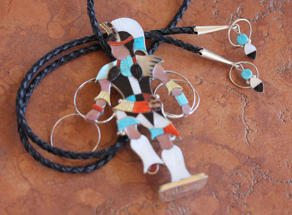 Zuni Silver Kachina Bolo Tie by Jon Beyuka