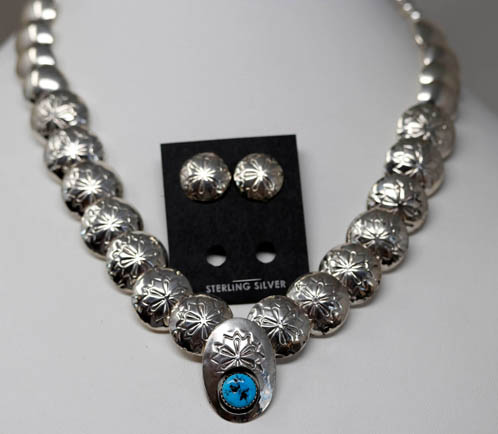 Navajo Silver Necklace Earrings Set