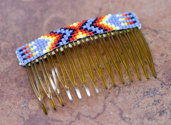 Navajo Beaded Hair Barrette Comb