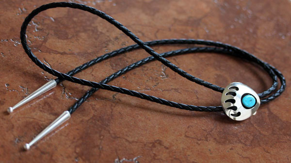 Navajo Silver Turquoise Bear Paw Bolo Tie by M Thomas