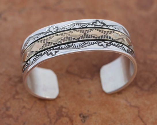 Navajo Sterling Silver Gold Overlay Cuff Bracelet