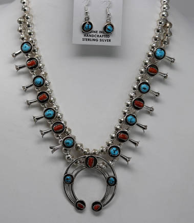 Navajo Squash Blossom Necklace and Earring Set