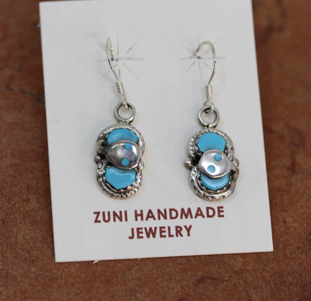 Zuni Turquoise Earrings by E Calavaza