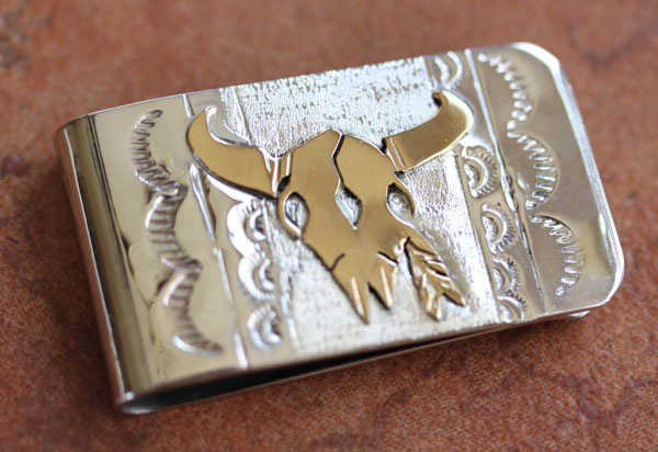 Navajo Silver Gold Money Clip by RJ