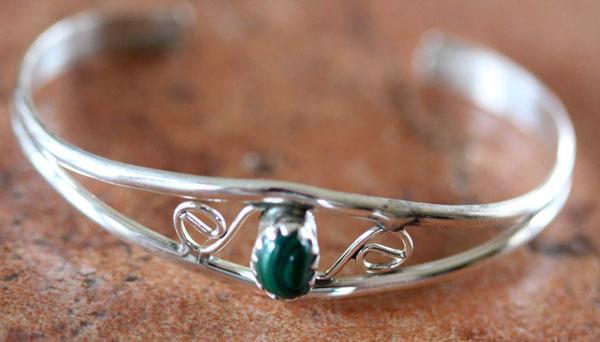 Navajo Sterling Silver Malachite Children's Bracelet