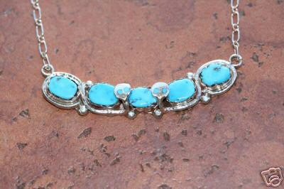 Zuni Indian Turquoise Necklace By Effie Calavaza