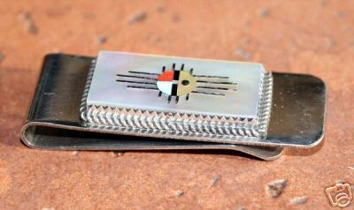 Zuni Native American Sunface Money Clip