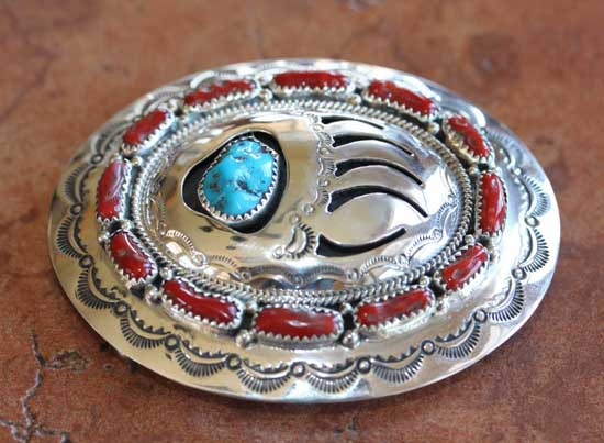 Navajo Silver Turquoise Coral Bear Paw Belt Buckle