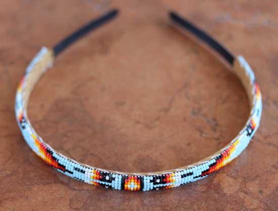 Navajo Leather Beaded Hairband