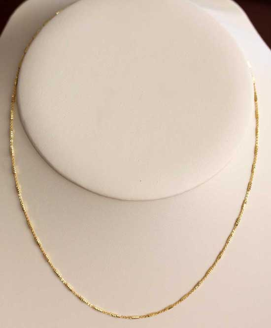 Gold Overlay Sterling Silver 16 Inch Long Tube Chain