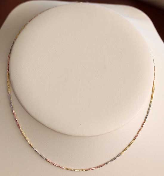 925 Sterling Silver 3 Tone 18 Inch Long Tube Chain