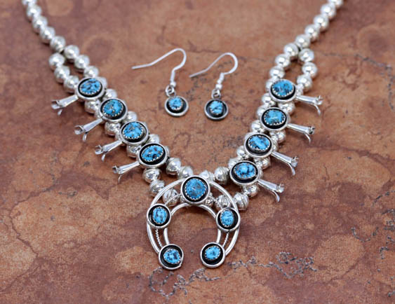Navajo Indian Squash Blossom Necklace and Earring Set