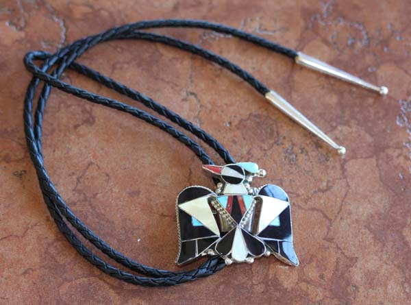 Zuni Native American Multi_Stone Thunderbird Bolo Tie