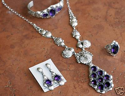 Navajo Created Amethyst 4 Piece Necklace Set