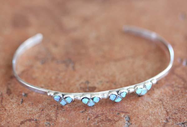 Zuni Sterling Silver Created Opal Heart Bracelet