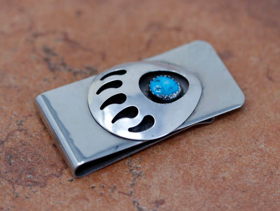 Navajo Turquoise Bear Claw Money Clip by Mike Thomas