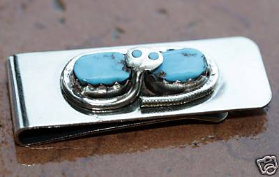 Zuni Native American Turquoise Money Clip by Effie