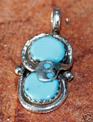 Zuni Indian Silver Turquoise Pendant by Effie C