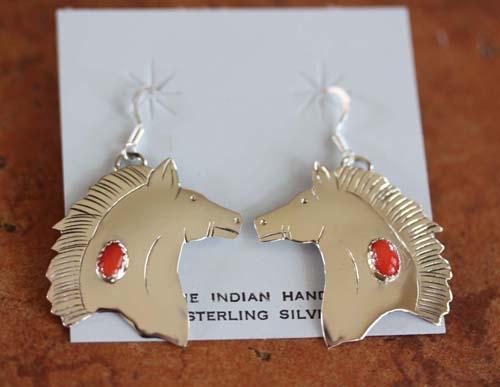 Navajo Sterling Silver Coral Horse Earrings